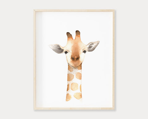 Watercolor Giraffe Printable Wall Art, Digital Download