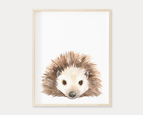 Watercolor Hedgehog Printable Wall Art, Instant Digital Download