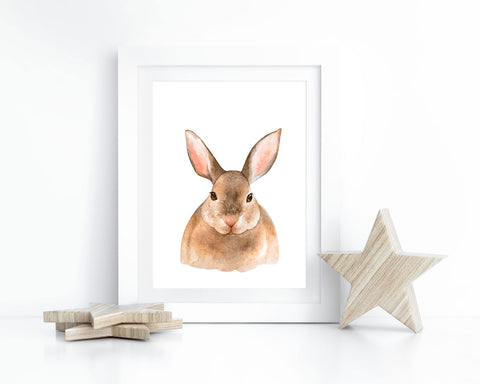 Watercolor Bunny Printable Wall Art, Instant Digital Download