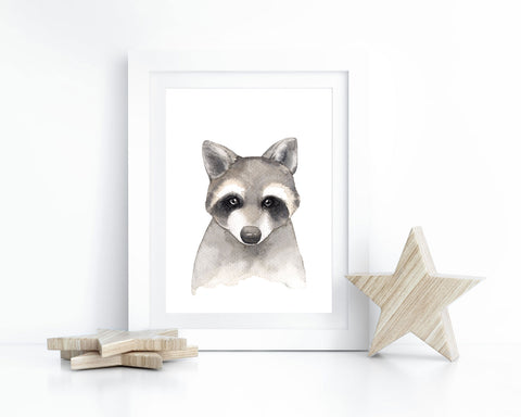 Watercolor Raccoon Printable Wall Art, Instant Digital Download