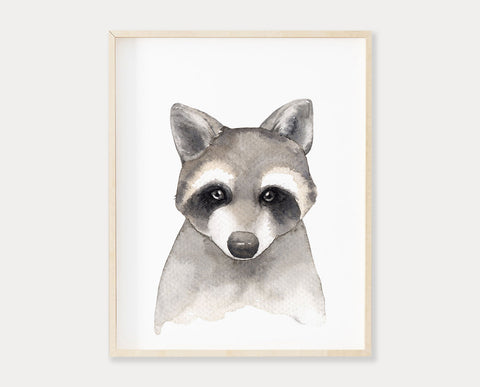 Watercolor Raccoon Printable Wall Art, Digital Download