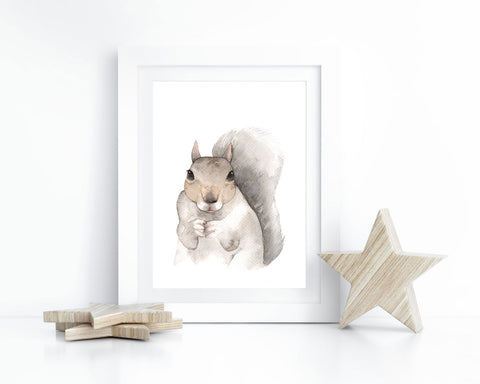 Watercolor Squirrel Printable Wall Art, Instant Digital Download