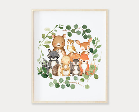 Watercolor Woodland Animals Greenery Wreath Printable Wall Art, Digital Download