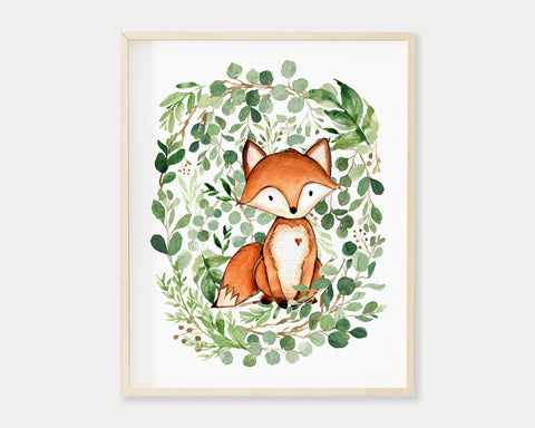 Watercolor Greenery Fox Printable Wall Art, Digital Download