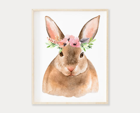 Watercolor Flower Crown Bunny Rabbit Printable Wall Art, Digital Download