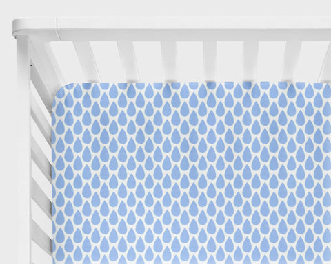 Blue Raindrops Fitted Crib Sheet or Changing Pad Cover