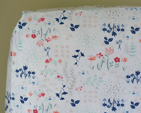 Library Gardens Floral Fitted Crib Sheet