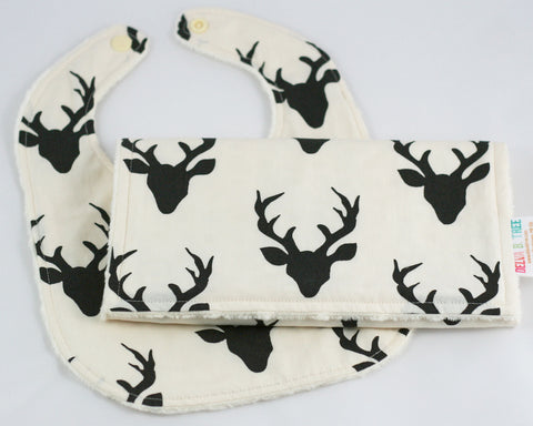 Buck Forest Night Minky Baby Bib and Burp Cloth Set