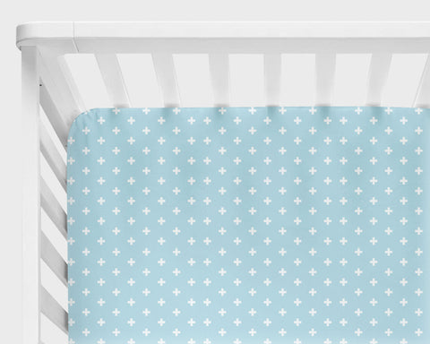 Aqua Blue Plus Sign Fitted Crib Sheets or Changing Pad Cover