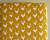 Buck Forest Mustard Fitted Crib Sheet or Changing Pad Cover