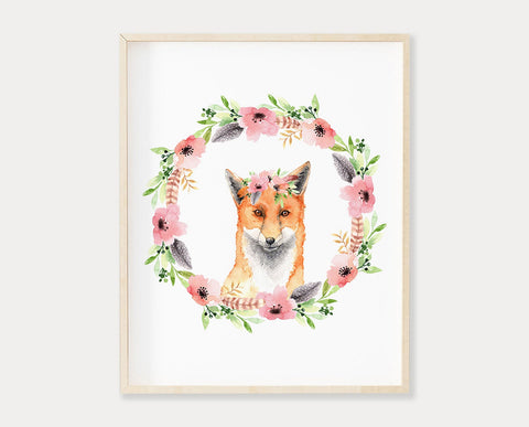 Fox Printable Wall Art, Flower Crown Kids Wall Art Prints, Watercolor Woodland Nursery Decor, Baby Girl Boho Nursery Art, Kids Room Decor