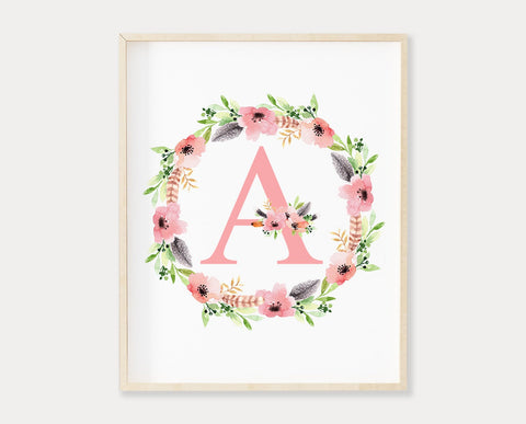 Pink Floral Letter A Printable Wall Art, Digital Download