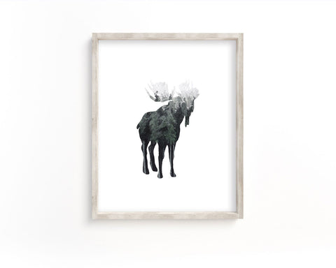 Watercolor Forest Moose Front Silhouette Printable Wall Art, Digital Download