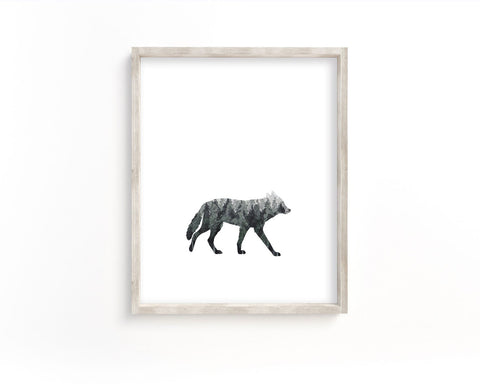 Watercolor Forest Wolf Silhouette Printable Wall Art, Digital Download
