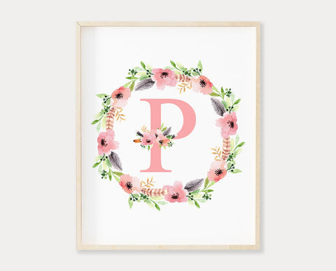 Pink Floral Letter P Printable Wall Art, Digital Download