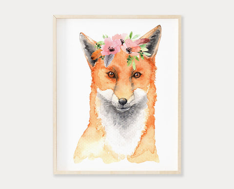 Watercolor Flower Crown Fox Printable Wall Art, Digital Download