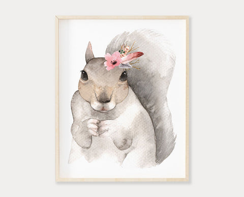Watercolor Flower Crown Squirrel Printable Wall Art, Digital Download