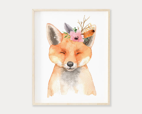 Watercolor Flower Crown Baby Fox Printable Wall Art, Digital Download