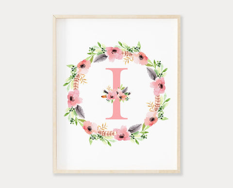 Floral Letter I Monogram Printable Wall Art, Watercolor Floral Wreath Initial Print, Baby Girl Boho Nursery Wall Art, Digital Download