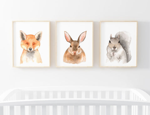 Watercolor Forest Animal Printable Wall Art, Woodland Nursery Decor, Set of 3, Nature Nursery, Fox, Bunny Rabbit, Squirrel, Digital Download