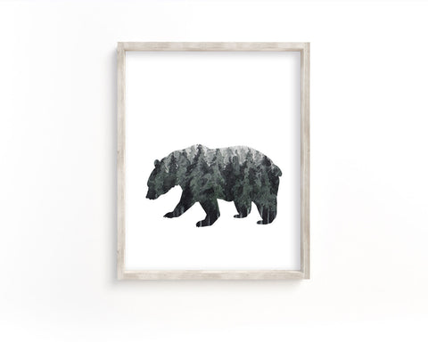 Watercolor Forest Bear Silhouette Printable Wall Art, Digital Download