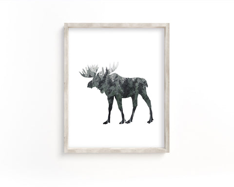 Watercolor Forest Moose Side Silhouette Printable Wall Art, Digital Download