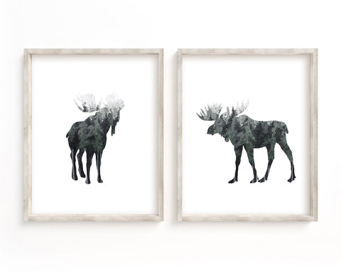 Watercolor Forest Moose Silhouette Set of 2 Printable Wall Art, Digital Download