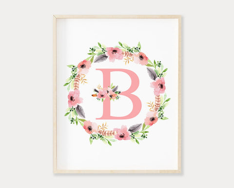 Pink Floral Letter B Printable Wall Art, Digital Download