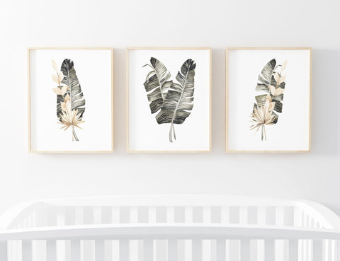 Palm Leaf Set of 3 Printable Wall Art, Digital Download