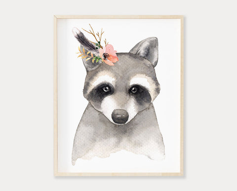 Watercolor Flower Crown Raccoon Printable Wall Art, Digital Download