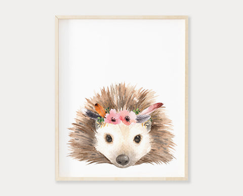 Watercolor Flower Crown Hedgehog Printable Wall Art, Digital Download