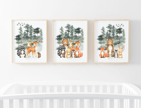 Watercolor Forest Animals Set of 3 Printable Wall Art, Digital Download