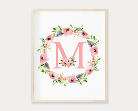 Floral Letter M Monogram Printable Wall Art, Watercolor Floral Wreath Initial Print, Baby Girl Boho Nursery Decor, Digital Download