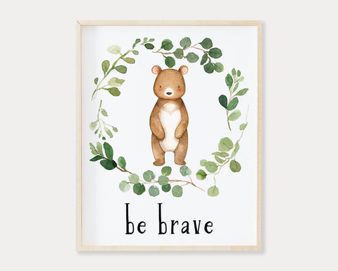 Watercolor Bear Be Brave Greenery Wreath Printable Wall Art, Digital Download