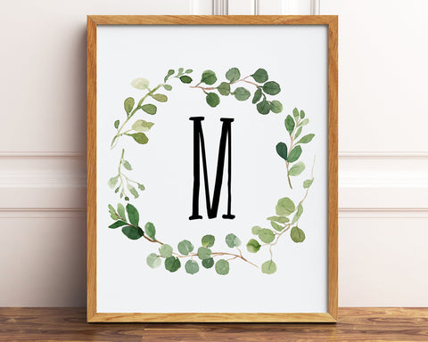Letter M Monogram Printable, Watercolor Greenery Wreath Initial Printable Wall Art, Baby Boy Neutral Nursery Decor, Farmhouse Nursery