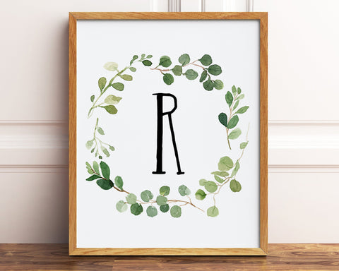 Greenery Nursery Monogram Letter R Digital Print, Greenery Monogram Printable Baby Boy Gift, Natural Nursery Wall Art, Letter R Initial Art