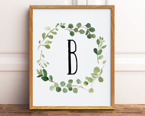 Letter B Monogram, Initial Printable Wall Art, Watercolor Greenery Wreath Letter Print, Baby Boy Neutral Nursery Decor, Farmhouse Nursery