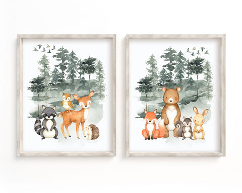 Watercolor Forest Animals Set of 2 Printable Wall Art, Digital Download