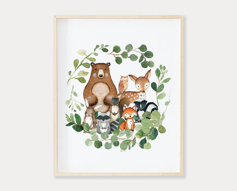 Watercolor Woodland Animals in Greenery Wreath Printable Wall Art, Digital Download