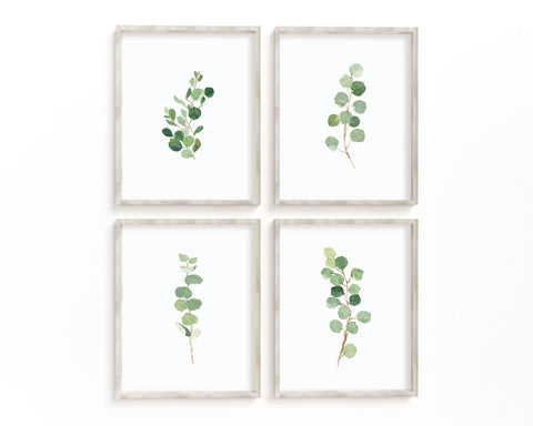 Watercolor Eucalyptus Set of 4 Printable Wall Art, Digital Download