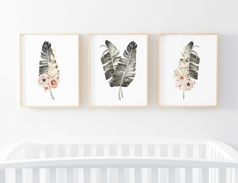 Blush Pink Floral Palm Leaf Set of 3 Printable Wall Art, Digital Download