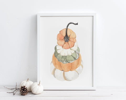 Watercolor Stacked Pumpkins Printable Wall Art, Gourd Art Digital Download