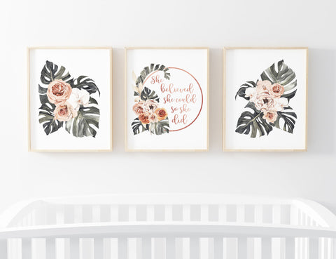 Floral Monstera Leaf Set of 3 Printable Wall Art, Digital Download