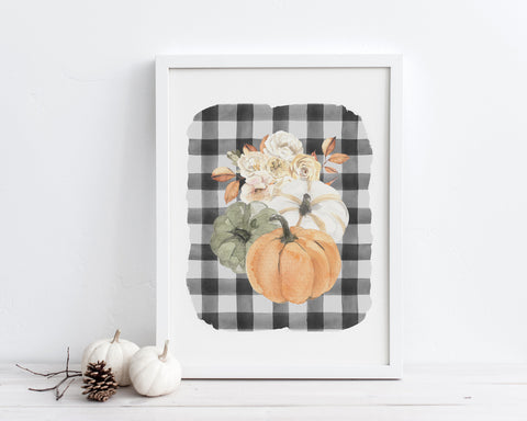 Fall Floral Pumpkins Printable Wall Art, Buffalo Plaid Fall Decor, Watercolor Floral Autumn Decor, Fall Farmhouse Decor, Digital Download