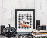Boo Pumpkin Printable Wall Art, Buffalo Plaid Halloween Decor, Farmhouse Halloween Decorations, Rustic Boo Pumpkin Decor, Instant Download