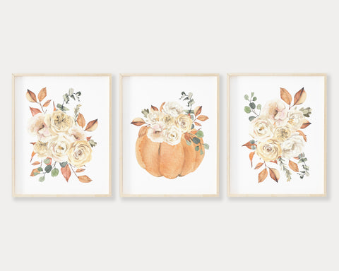 Watercolor Fall Floral Pumpkin Printable Wall Art Set of 3, Digital Download