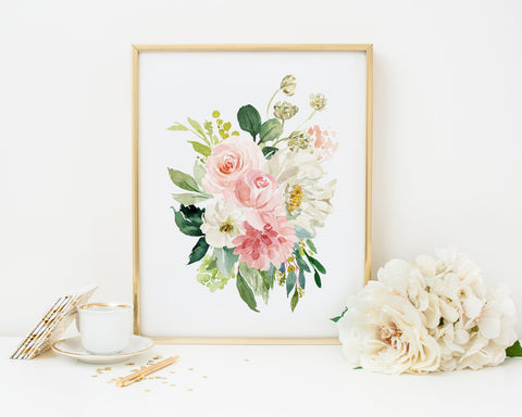 Watercolor Peonies Printable Wall Art, Digital Download