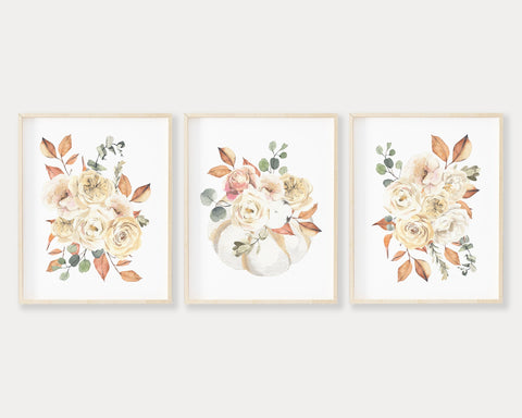 White Floral Pumpkin Printable Wall Art Set of 3, Digital Download
