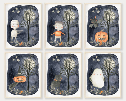 Cute Halloween Night Scene Printable Wall Art Set of 6, Digital Download