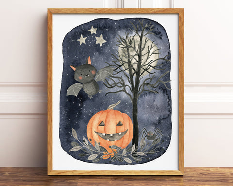 Bat and Jack o Lantern Halloween Printable Decor, Watercolor Halloween Decorations, Cute Pumpkin Halloween Print, Kids Halloween Art Print